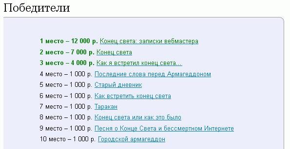 """Результаты конкурса """"Конец света"""""""