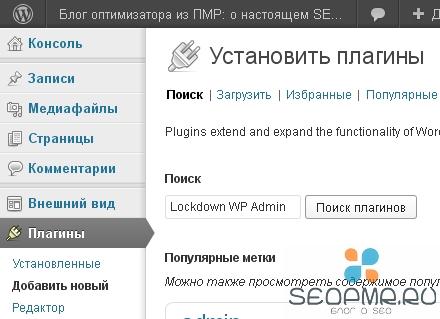 Установите плагин Lockdown WP Admin